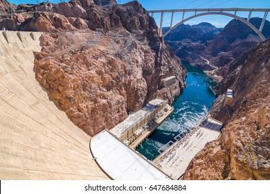 Beautiful view of Hoover Dam and Lake Mead - Arizona and Nevada border - USA