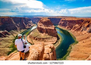 Beautiful view at Horseshoe bend on sunny day, Arizona, USA