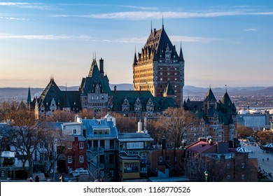 beautiful view of the Hotel Fairmont, Frontenac Castle in Quebec city Canada