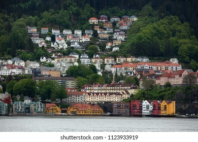 Beautiful view of the houses in the mountains around the fjord near Bergen in Norway