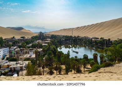 The beautiful view of the huachina oasis on a sunny morning