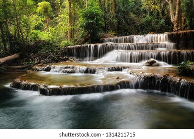 A beautiful view of Huay Mae khamin waterfall at Kanchanaburi province in Thailand. traveling and attractions concept