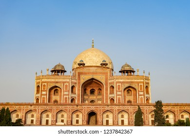 Beautiful view of Humayun's Tomb is the tomb of the Mughal Emperor Humayun and the first garden-tomb on the Indian, It inspired construction of the Taj Mahal. Delhi, India