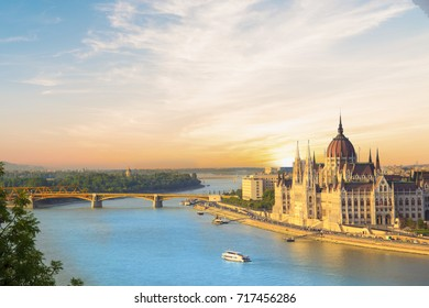 Beautiful view of the Hungarian Parliament and the chain bridge in the panorama of Budapest at night, Hungary