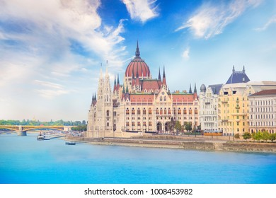 Beautiful view of the Hungarian Parliament on the Danube waterfront in Budapest, Hungary
