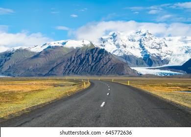 Beautiful view of Hvannadalshnukur mountain and Skaftafellsjokull glacier in Skaftafell National Park from Hringvegur Road - Ring Road IS1 - Iceland