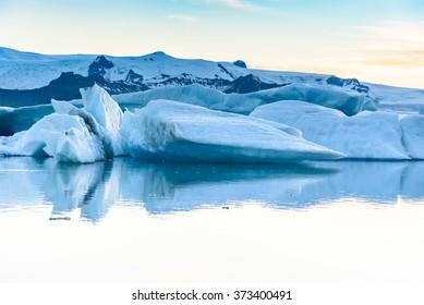 Beautiful view of icebergs in Jokulsarlon glacier lagoon, Iceland;  selective focus