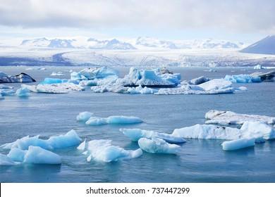 Beautiful view of icebergs in Jokulsarlon glacier lagoon, Vatnajokull National Park, Iceland,  2016 summer