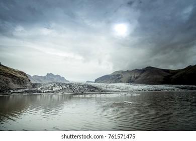 Beautiful view of icebergs in Jokulsarlon glacier lagoon, Vatnajokull National Park, Iceland
