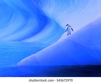 Beautiful view of icebergs and penguins in Antarctica