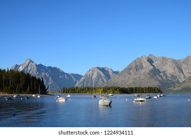 Beautiful view of the iconic Grand Teton mountains on a sunny day at the Grand Teton National Park, south of Yellowstone National Park, USA