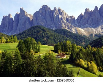 Beautiful view of idyllic mountain scenery in The Dolomites, Santa Maddalena village and Odle Mountains. South Tyrol, Italy