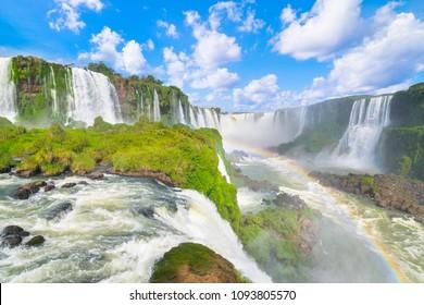 Beautiful view of Iguazu Falls from brazilian side, one of the Seven Natural Wonders of the World - Foz do Iguaçu, Brazil.