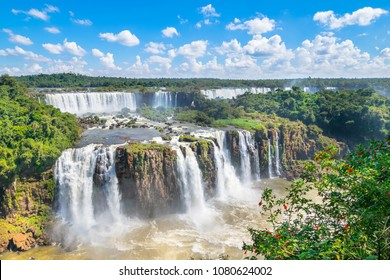 Beautiful  view of Iguazu Falls, one of the Seven Natural Wonders of the World - Foz do Iguaçu, Brazil