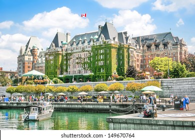 Beautiful view of Inner Harbour of Victoria, Vancouver Island, B.C., Canada