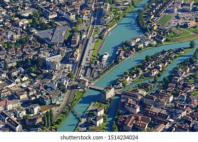 Beautiful view of Interlaken town and Aare river from the view point of Harder Kulm, Interlaken Switzerland