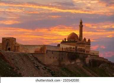 Beautiful view of Ishak Pasa palace in eastern Turkey