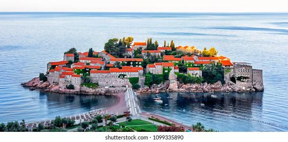 Beautiful view of the island of St. Stephen (Sveti Stefan) at sunrise, Budva, Montenegro.