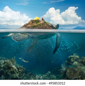 Beautiful view island-turtle and traveler above and below the water surface in turquoise waters of tropical ocean  The concept of travel and adventure in the mountains and under water.