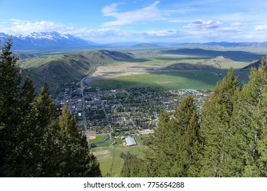 Beautiful view of Jackson, Wyoming, from Jackson Hole Mountain