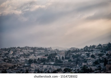 Beautiful view of Jerusalem Old City from the Mount of Olives. Evening light, pastel toned