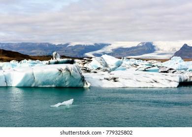 Beautiful view of Jokulsarlon, a large glacial lake in southeast Iceland, Vatnajokull National Park
