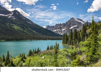 Beautiful view of Josephine lake, Glacier National Park