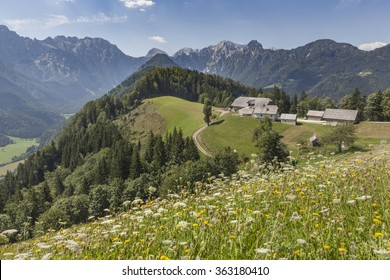 Beautiful view in Kamnik-Savinja Alps over Logarska valley, Slovenija
