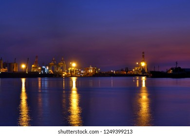 Beautiful view of Kaohsiung Port just after sunset