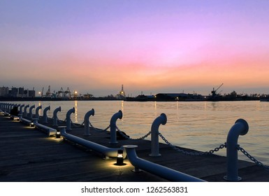 Beautiful view of Kaohsiung Port just after sunset seen from the Glory Pier