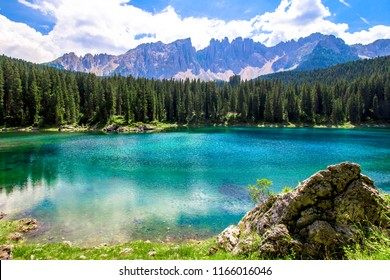 Beautiful view of the Karersee (Italian: Lago di Carezza): is a lake in the Dolomites in South Tyrol, Italy