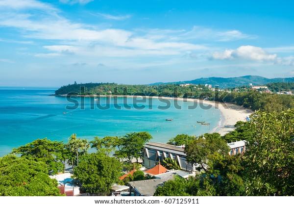 Beautiful view of Kata beach from the hill. Phuket, Thailand