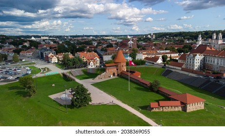 A beautiful view of Kaunas castle among other small buildings in 4k in Lithuania