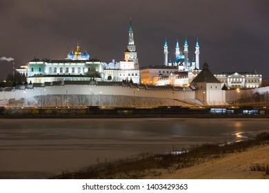 Beautiful view of the Kazan Kremlin on a winter night in the city of Kazan in Russia