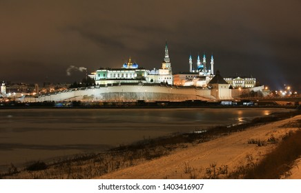 Beautiful view of the Kazan Kremlin in the winter at night in the city of Kazan in Russia