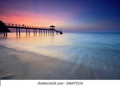 Beautiful view of Kerachut Beach, Penang National Park during sunset. Nature composition.