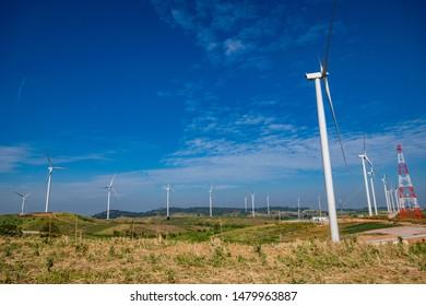 Beautiful view of Khao Kho wind turbines, Phetchabun, Thailand