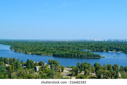 Beautiful view of Kiev river Dnipro and  Trukhaniv Island