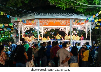 Beautiful view of the kiosk in the main square of the Chiapas, Mexico. Music band. People having fun. Chiapas, Mexico, July 2015.