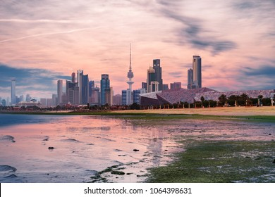 beautiful view of kuwait city landscape during sunset