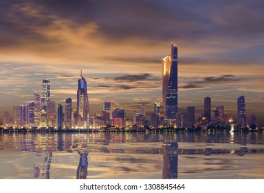 Beautiful view of Kuwait Cityscape during sunset on a cloudy weather condition