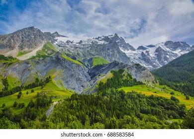 Beautiful view of La Meije mountain (3984 m) located in Massif des Ecrins in France.