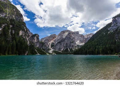 Beautiful view of Lago di Braies Lake or Pragser Wildsee in Dolomite mountains , Italy