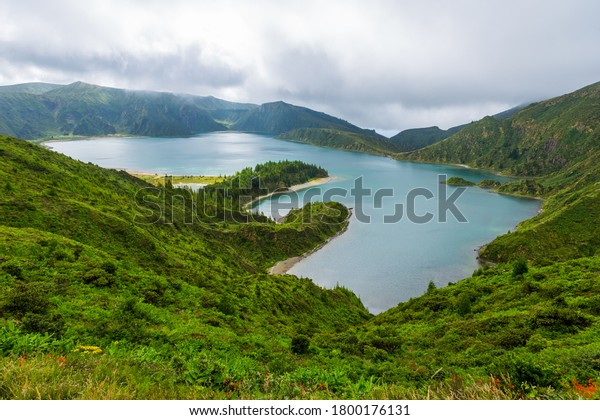 Beautiful view of Lagoa do Fogo, Sao Miguel Island, Azores, Portugal