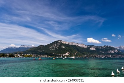 Beautiful view of Lake Annecy in French Alps, on a summer day. Haute Savoie. French Alps. France.