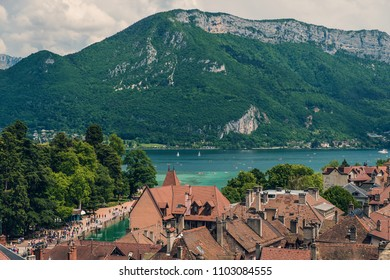Beautiful view of Lake Annecy and tiled rooftops