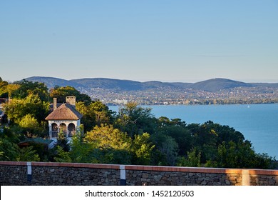 Beautiful view of the Lake Balaton from Tihany on a sunny summer day. Sunset on the lake Balaton