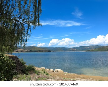 Beautiful view of the Lake Corbara in Italy, near city of Orvieto, in the River Park of the Tiber.