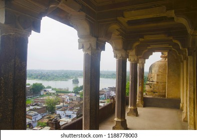 Beautiful view of lake and Datia city from the Datia Palace. Also known as Bir Singh Palace or Bir Singh Dev Palace. Datia. Madhya Pradesh