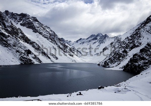 Beautiful View of Lake del Inca and the Andes Mountain Range from a Ski Station